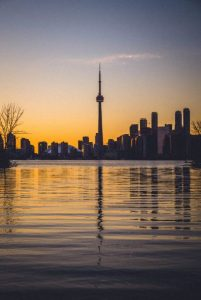 CN Tower Toronto Canada sunset